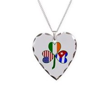 Shamrock of Cuba Necklace Heart Charm
