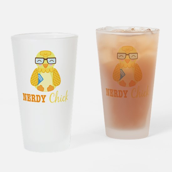Nerdy Chick Drinking Glass