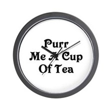 Purr Me A Cup of Tea Wall Clock