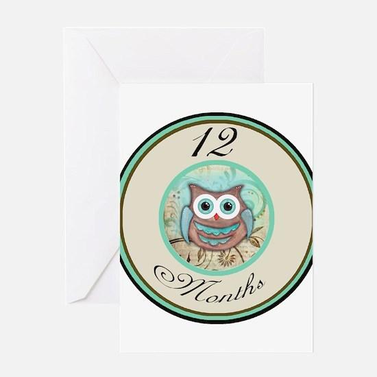12 Months Owl Milestone Greeting Card