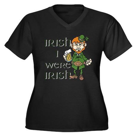 Irish I were Irish Women's Plus Size V-Neck Dark T