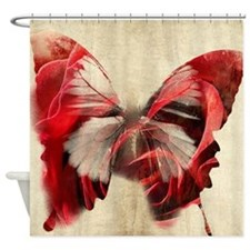 Cute Red butterfly decor Shower Curtain