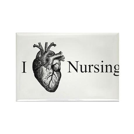 I Heart Nursing Rectangle Magnet (100 pack)