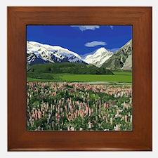 Serene Mountain Scene Framed Tile