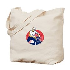 Pipefitter Turning Pipe Valve Retro Tote Bag