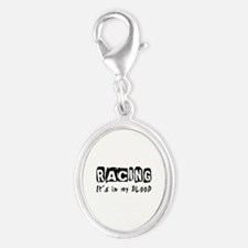 Racing Designs Silver Oval Charm