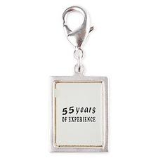 55 years birthday designs Silver Portrait Charm