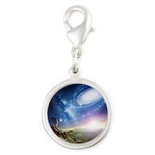 Colliding galaxies, artwork - Silver Round Charm