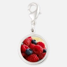 Blueberries and raspberries - Silver Round Charm