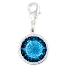 HIV virus particles, artwork - Silver Round Charm