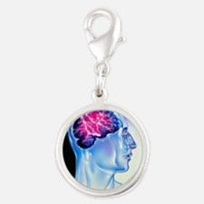 ightning in brain - Silver Round Charm
