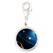 Artwork of the solar system - Silver Round Charm