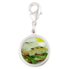 Toasted cheese sandwich - Silver Round Charm