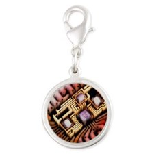 id integrated circuit - Silver Round Charm