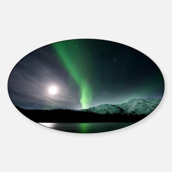 Aurora borealis and Moon - Sticker (Oval)