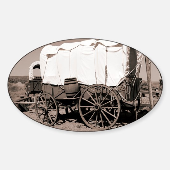 Wild West covered wagons - Sticker (Oval)