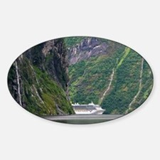 Cruise ship in a fjord, Norway - Sticker (Oval)