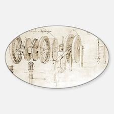 Da Vinci's notebook - Sticker (Oval)