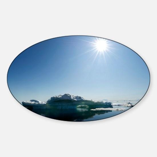 Midnight sun, Nunavut,, Canada - Sticker (Oval)