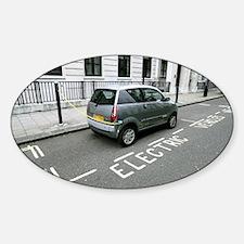 Recharging an electric car - Sticker (Oval)