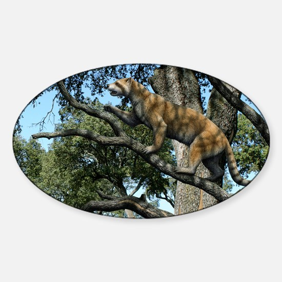 Simocyon in a tree, artwork - Sticker (Oval)