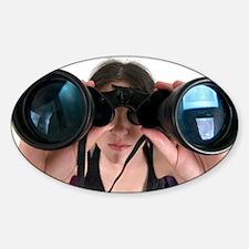 woman with binoculars - Decal