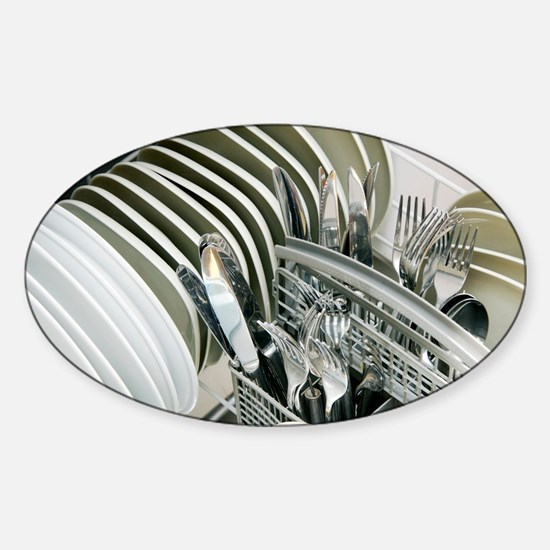 Clean utensils in a dishwasher - Sticker (Oval)