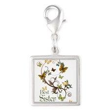 Best Sister Silver Square Charm
