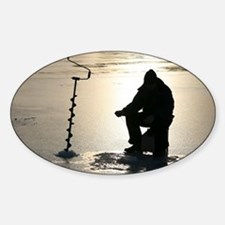 Ice fishing, Sweden - Sticker (Oval)