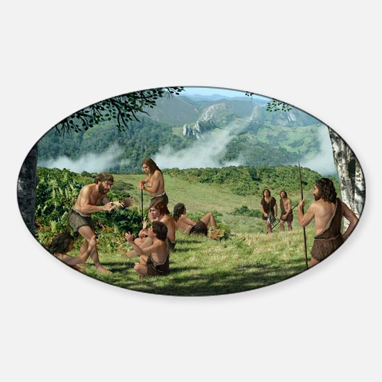 Neanderthals in summer, artwork - Sticker (Oval)