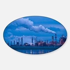 Oil refinery at dusk - Sticker (Oval)