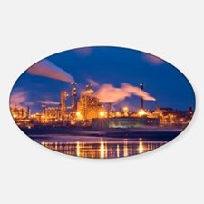 Oil refinery at night - Sticker (Oval)