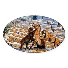 Scimitar cats attacking a horse - Decal