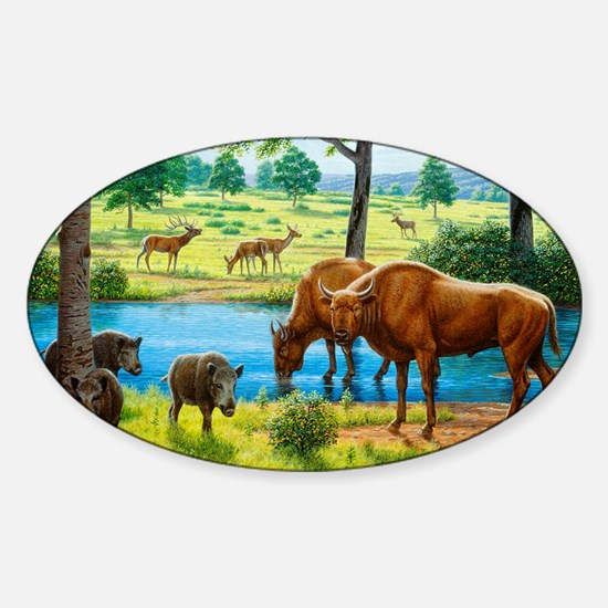 Wildlife of the Pleistocene era - Sticker (Oval)