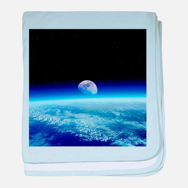 Moon rising over Earth's horizon - Baby Blanket