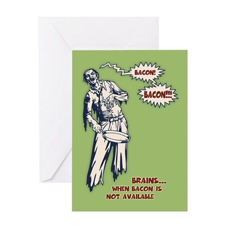 zombie-bacon-CRD Greeting Cards