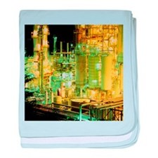 Oil refinery at night - Baby Blanket