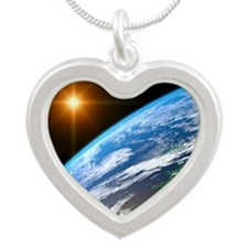 Earth, artwork - Silver Heart Necklace