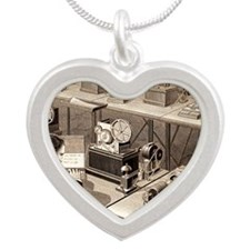 Baudot telegraph system - Silver Heart Necklace