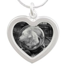 n a spacesuit - Silver Heart Necklace