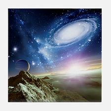 Colliding galaxies, artwork - Tile Coaster