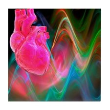 Human heart, artwork - Tile Coaster