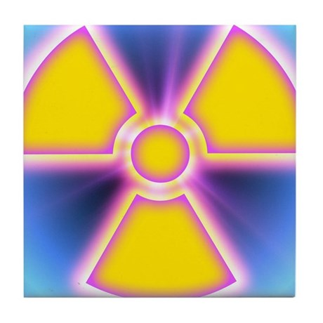 Radiation warning sign tile coaster by sciencephotos - Radioactive coasters ...