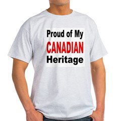 Proud Canadian Heritage (Front) Ash Grey T-Shirt