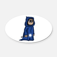 cute Gnome Mage Oval Car Magnet