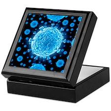 HIV virus particles, artwork - Keepsake Box