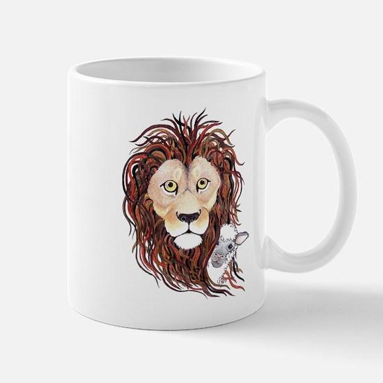 Peek-a-boo lamb with lion Mug