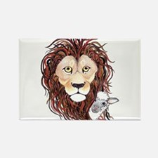 Peek-a-boo lamb with lion Rectangle Magnet