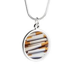 Cigarettes - Silver Round Necklace