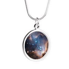 Starbirth region NGC 602 - Silver Round Necklace